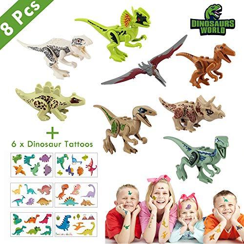 Lehoo Castle Mini juguetes para dinosaurios 8 paquetes, bloques de construcción de dinosaurios para niños pequeños, dinosaurios para niños, juguetes para la fiesta de dinosaurios