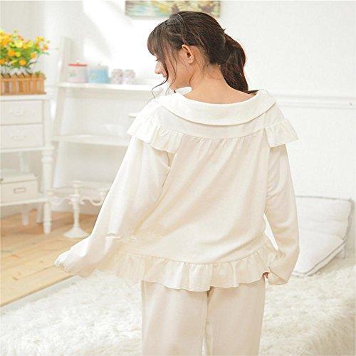 DMMSS Peignoir Ladies Spring / Summer Cotton Pyjamas Manches Longues 2-Piece Douce Lapel Pyjamas Set White