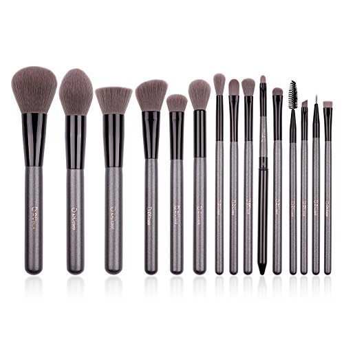 DUcare Makeup Brushes 15 Pcs Natural Synthetic Professional with Leather Case(Sliver and Black)