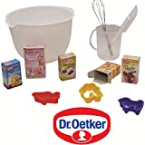 Unbekannt Backschüssel mit Dr. Oetker Produkten, Schneebesen: Kaufladen Zubehör Lebensmittel Kaufmannladen Spielküche Zubehoer