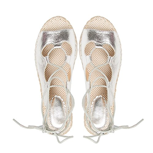 Ideal Shoes Sandales Nacrées à Lacets Type Espadrille Erica Argent