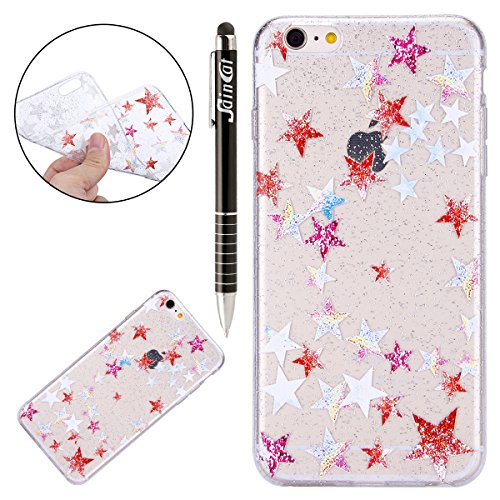 Custodia iPhone 6 Plus, iPhone 6S Plus Cover Sottile Silicone, SainCat Cover per iPhone 6/6S Plus Custodia Silicone Morbido, Bling Glitter Shock-Absorption Ultra Slim Transparent Silicone Case Ultra S Stelle Colorate