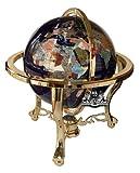 Unique Einzigartige Kunst 53,3cm hoch Lapislazuli blau Ocean Tisch Top Edelstein World Globe mit Gold Stativ