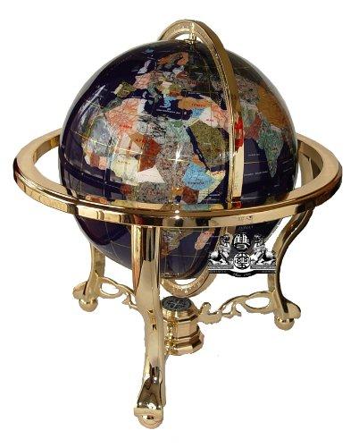 Einzigartige Kunst 53,3cm hoch Lapislazuli blau ocean Tisch Top Edelstein World Globe mit Gold Stativ