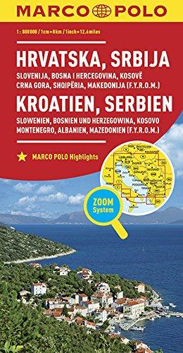MARCO POLO Länderkarte Kroatien, Serbien, Bosnien und Herzegowina 1:800 000: Slowenien, Kosovo, Montenegro, Albanien, Mazedonien: Wegenkaart 1:800 000 (MARCO POLO Länderkarten)