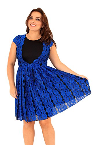 Chocolate Pickle ® Mesdames Dentelle Lined du Cap manches Robe patineuse 46-52 Blue-Black