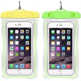 "Hihamer Waterproof Phone Cases Dry Bags Fluorescent Phone Pouch Underwater Full Sealed Cover Snowproof Compatible With All Touch Phones Under 6"" For Diving, Swimming, Boating (2 Pack Yellow+Green)"