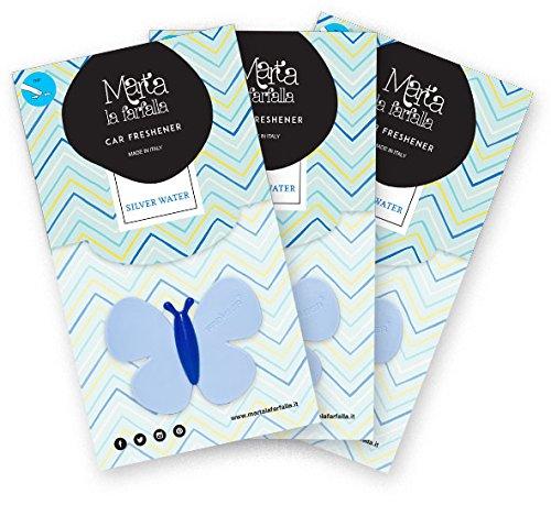 Marta La Farfalla profumatore Deodorante per Auto da Inserire nelle bocchette di areazione fragranza Silver Water 3pz