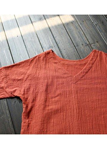 3ec4b8d8c221bd ... MatchLife Damen Kaftan Tunika Kleid Maxi Leinenkleid Mittelalter lang  Kleid Orange