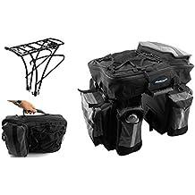 Alforjas Triples 64L Desmontable + Portabultos Parrilla 25Kg Bicicleta 3951 3677