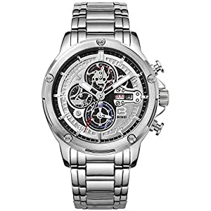 BUREI Men's Multifunction Chronograph Watch Wristwatches with Day and Date Calendar Stainless Steel Band