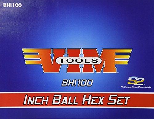 Vim Tools bhi100SAE 17,8cm lang T-Griff Ball und Hex Bit Set-10Stück - Ball-driver-hex-tool