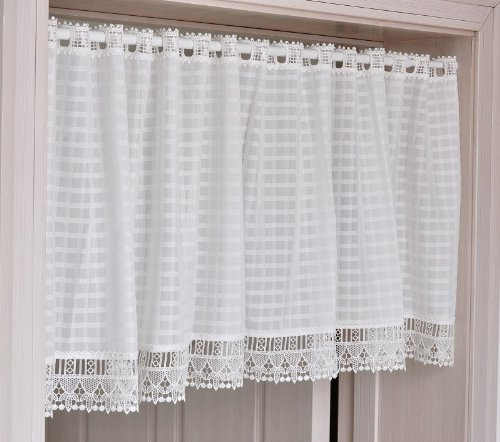 FADFAY Home Textile,Elegant Bedroom White Curtains,Designer White Gingham Short  Curtains,Modern Curtains For Kitchen