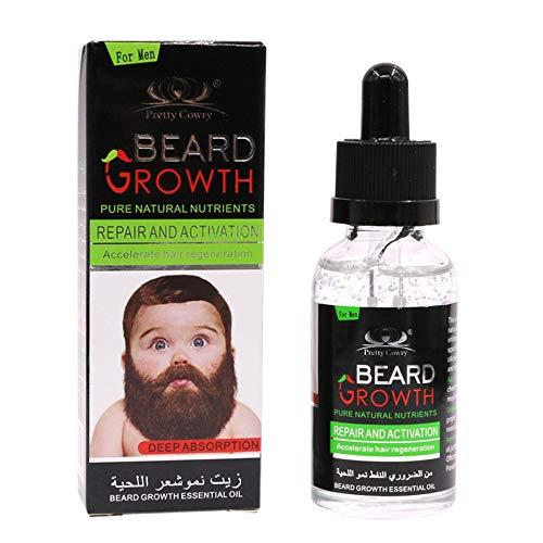 Neubula Huile de barbe, soin et accélérateur, huile essentielle de barbe, fluide de croissance de la barbe pour nourrir et nourrir votre peau