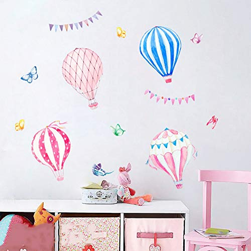WDJYQT Wandaufkleber Wall Sticker Cartoon Wandaufklebern Cute Hot Air Balloon Kindergarten Klassenzimmer Wand Dekoration Kinderzimmer Hintergrund Wand Layout Aufkleber