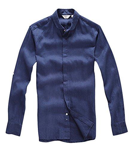Insun Herren Hemd Kragen Mode Einfarbig Freizeithemd Longsleeve Shirts Bluse Dunkelblau