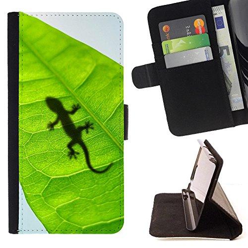 Kobe Diy Case / For Apple Iphone 5 / 5S Cute Lizard Leaf Reptile Gecko Folio PU Wallert Leather Case