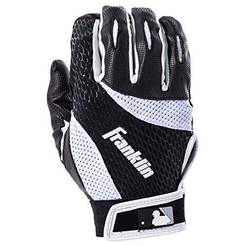 Franklin Sports MLB 2nd-Skinz Handschuhe für Schlagmann, Batter, unisex, 21150F2, schwarz/weiß, Erwachsene M (Mädchen-softball-handschuh)