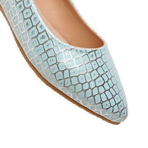 VogueZone009 Femme à Talon Bas Texturé Tire Matière Souple Pointu Chaussures Légeres Bleu