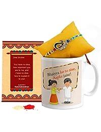 Tied Ribbons Rakhi Gift Set For Brother (Designer Rakhi, Printed Coffee Mug, Rakshabandhan Special Card, Roli...