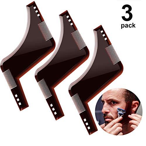 3 Stücke Bart-Formung Werkzeug Styling Tool, Bartschablone mit Integriertem Kamm für Gute Bartform