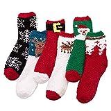 Firedancekid 6 paar kerst Santa Elk sneeuwvlokken Casual koraal Fleece sokken herfst winter