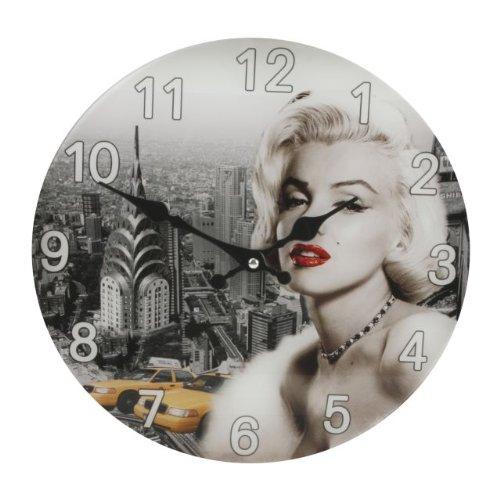 Hometime Round Glass Wall Clock - Marilyn Monroe