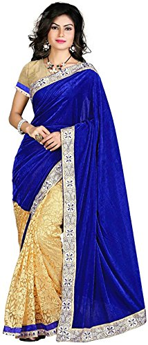 Arawins Womens Velvet and Brasso Net Blue and Beige Saree With Blouse Piece New Collection in Great Indian Sale Offers  available at amazon for Rs.399