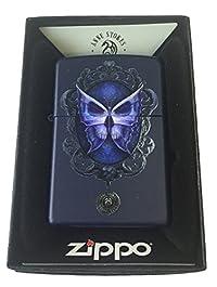 Zippo Custom Lighter - Ann Stokes Artist Skull Butterfly Mirror Design Navy Matte