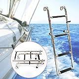 YIYIBY Échelles De Bateau 4 Étape Échelle Télescopique Échelle D'embarquement En Acier Inoxydable pour Marine Bateau Yacht Piscine