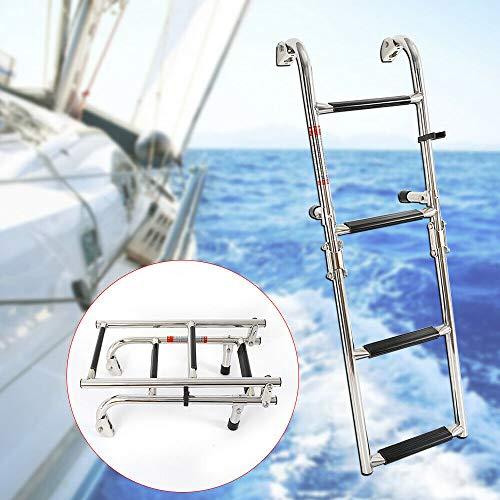 YIYIBY Escaleras de barco Escalera telescópica de 4 escalones Escalera de embarque plegable de acero...