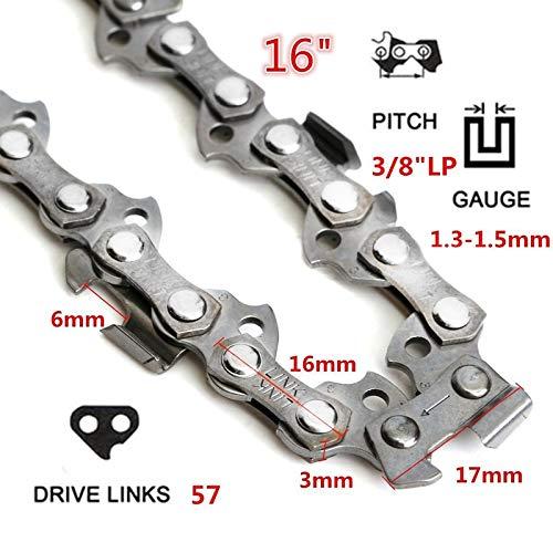 Shoppy étoile 25,4 - 50,8 cm 40-72 Drive Link 0.325 3/8 Pitch Chaîne pour tronçonneuse Moulin à scie de Remplacement extérieur Outil pièces Accessoires : 16