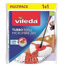 Vileda Turbo 2in1 EasyWring & Clean Fiocco di ricambio, rosso/bianco, Doppelpack (2in1)