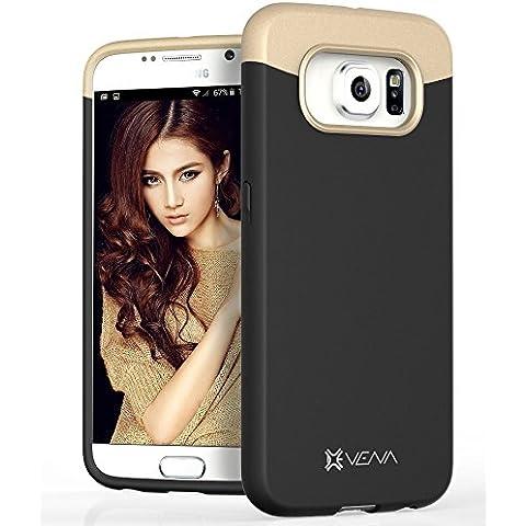 Vena Samsung Galaxy S6 Funda [iSlide] Slim Fit duro recubiertas de goma cubierta de la caja de para Samsung Galaxy S6 (Negro / Champagne Oro)