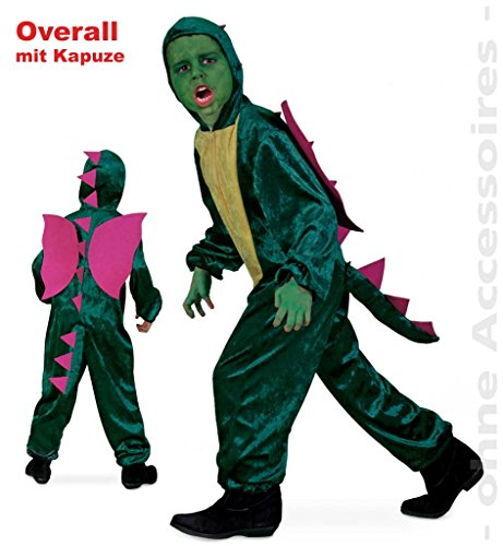 Farmer Overall Kostüm - FASCHING 10074 Kinder-Kostüm Overall Dino m.Kapuze Drache NEU/OVP: Größe: 104