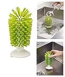 takestop cepillo escobilla con ventosa cerdas Rigide Lava vasos Limpieza Copas apto a recipientes Max 14cm Altura color aleatorio