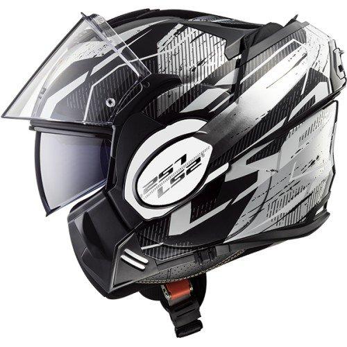 LS2 VALIANT ROBOTO - Casco da moto, taglia S, colore: Nero/Bianco/Cromo