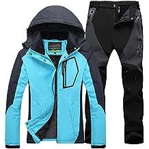 Mujer de Trekking Impermeable Deportivos Transpirable Pantalones Chaqueta de Esquí Impermeable Chaqueta de Nieve Excursionismo Conjunto