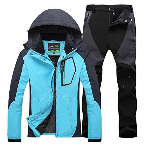 Mujer de Trekking Impermeable Deportivos Transpirable Pantalones Chaqueta de Esquí Impermeable Chaqueta de Nieve Excursionismo Conjunto AzulNegro M