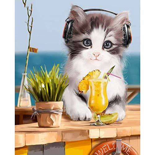 Lovefyl DIY 5d Diamant malerei Tier Katze Musik hören und Trinken saft voll rund Diamant Stickerei Stickerei Diamant Dekoration 40x55 cm - Diagramm Hören