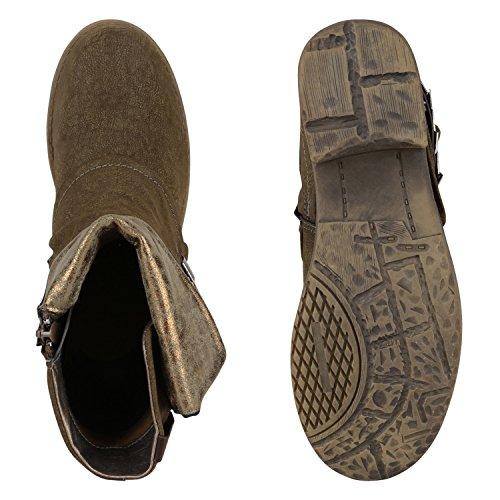 Damen Stiefeletten | Biker Boots Schnallen Nieten | Knöchelhohe Stiefel Leder-Optik Khaki Braun