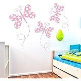 IDEAVINILO - vinilo decorativo infantil de tres mariposas con alas de lunares. Medida: 110 x 45 cm