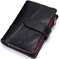 Modesty Mens real cuero zurriago bifold titular de la tarjeta de cremallera moneda bolsillo corto cartera (Negro) - QB002