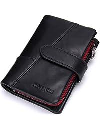 Portafoglio Uomo in vera pelle Bifold Trifold Wallet Card Holder Staccabile Moneta Tasca(Nero)- QB002