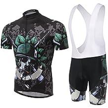 SKYSPER Hombres Jersey + Pantalones Cortos Mangas Cortas de Ciclismo Ropa Maillot Transpirable para Deportes al
