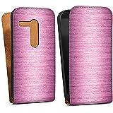 Motorola Moto G Tasche Hülle Flip Case Metal Look - Pink Metall Rosa Pink