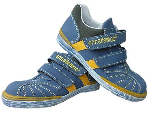 ennellemoo® Jungen-Kinder-Halbschuhe-Sneaker-Slipper- echt Leder-Schuhe-Klettverschluss.Premiumschuhe aus Vollleder!! Blau/Gelb/Tundra