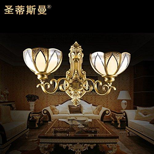 BBSLT Stile europeo classico Villa rame lampada doppia testa vetrate