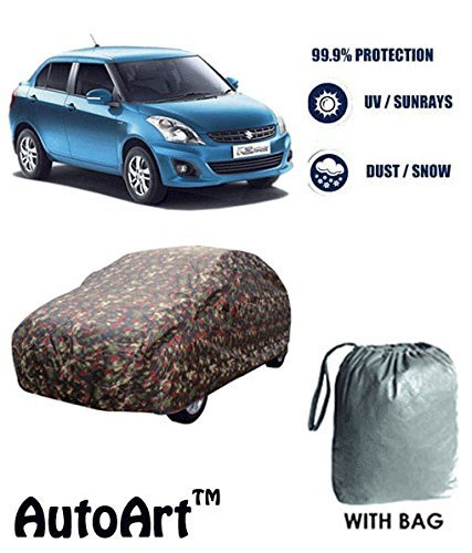 AutoArt Military / Jungle Print Car body cover with Storage Bag Free For Maruti Swift Dzire (old) (Tirpal)  available at amazon for Rs.835