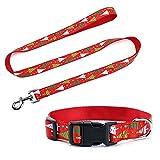 Petilleur Set Hundeleine und Hundehalsband für Weihnachten und Neujahr Hunde Leine und Halsband Einstellbar in Nylon (Weihnachtsbaum)